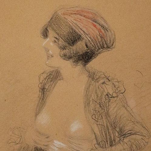 Louis Vallet (1856-1940). Une élégante dévoilant sa poitrine. Vers 1925. Dessin