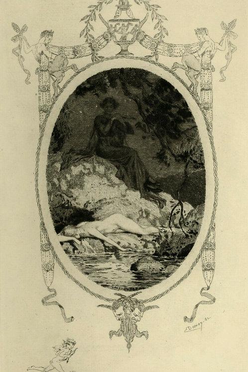 1923 Auguste Leroux  Estampe originale Tirage Japon à 200 ex. baigneuse endormie
