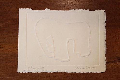 1975 Jeanne Esmein Estampe originale Épreuve n°1/12 (éléphant)