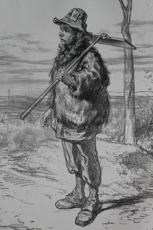 GAVARNI Lithographie originale série PHYSIONOMIES PARISIENNES - CANTONNIER