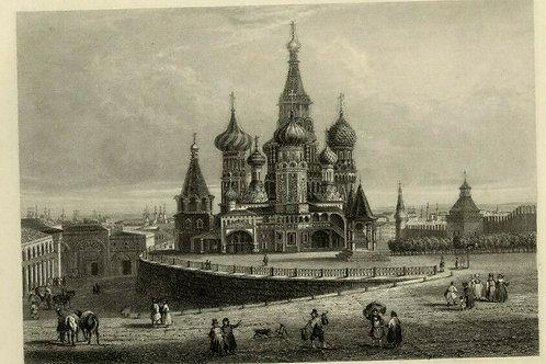 1842 MOSCOU gravure sur acier vue pittoresque estampe ancienne ville Russie