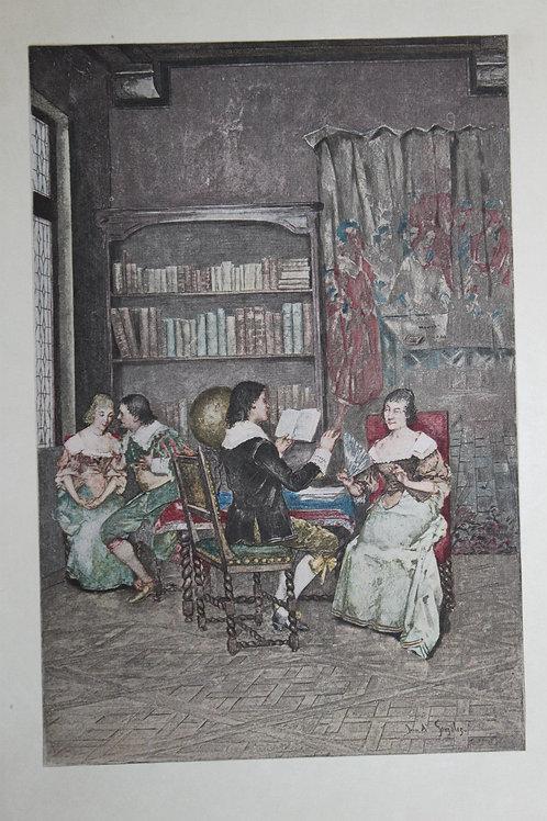 Estampe originale en couleurs d'après Gonzalez. La Précieuse (1884)