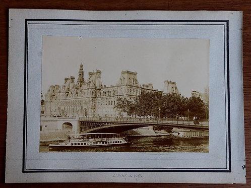 Paris 1900 Photographie ancienne 1900 Hôtel de Ville Seine péniches