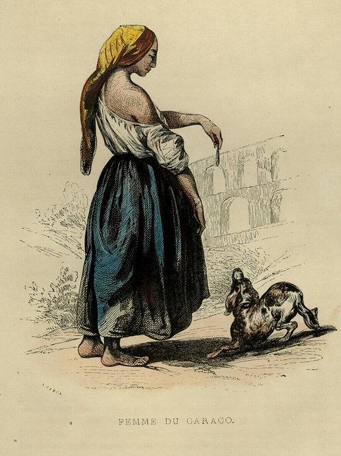 1842 FEMME DU CARACO PROVENCE Les Français estampe gravure aquarellée époque