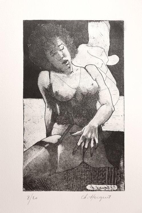 Christian Hocquet. Estampe érotique (1989). 1/20 signée. Rare