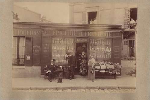 photographie ancienne épicerie fruiterie liqueurs primeurs Vincennes 1900