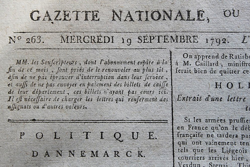 La Gazette Nationale ou Moniteur Universel (1792)