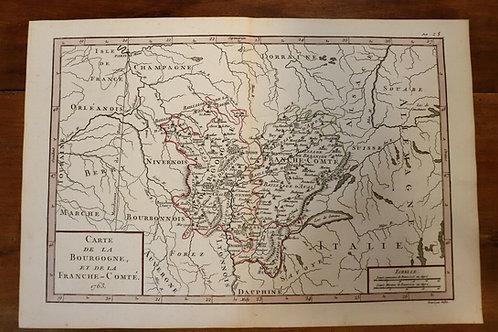 1763 Map Carte géographie Atlas France Maugein Vallet Bourgogne Franche-Comté
