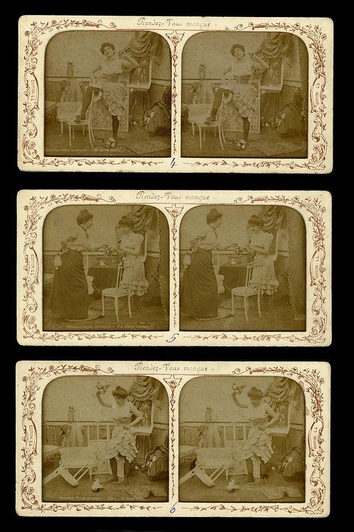 6 photographies stéréoscopiques panoptiques vers 1870-1890. Rare.