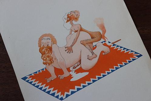 Albert Dubout. Très rare suite de 6 dessins aquarellés très libres (1936)