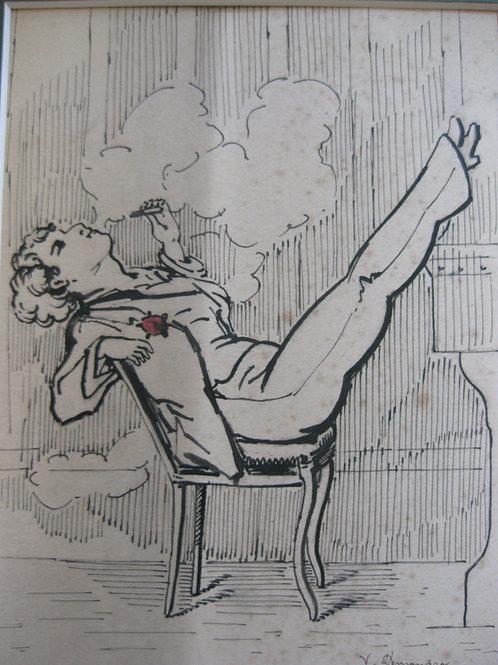 1930 dessin ancien à l'encre de chine signé V. Denandre Femme au cigare