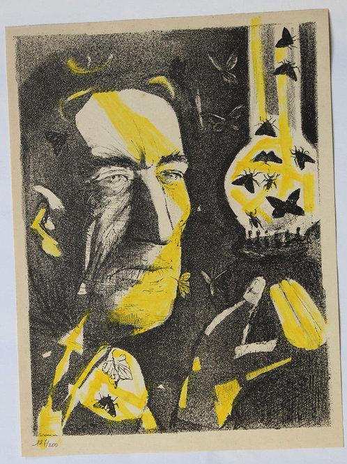 1955 René-Jean CLOT Lithographie originale rehaussée couleur 1/200 L'Idée fixe