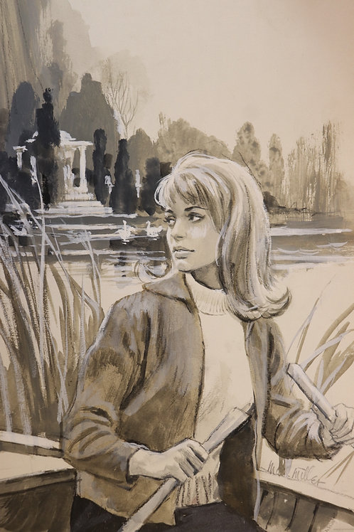 1967 Dessin original Mark Miller Aquarelle Gouache Roman-Photo Painting