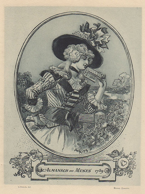 Estampe originale par Albert Robida (1894). Lectrice