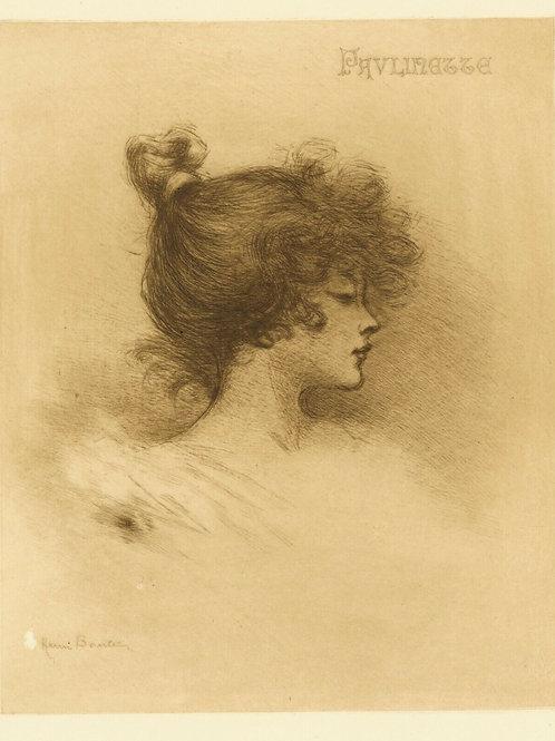 1894 HENRI BOUTET Pointe sèche PAULINETTE FEMME féminin etching 1/400 ex.