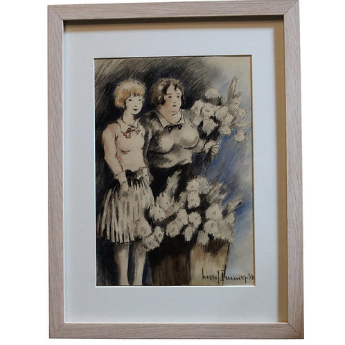 """Marcel Prunier. Dessin original """"Deux jeunes filles au bouquet de fleurs"""" (1937)"""