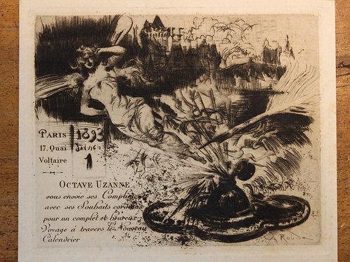 Carte de voeux pour Octave Uzanne (1893). Albert Robida