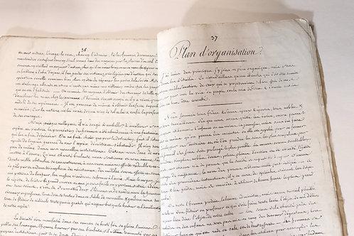 """Manuscrit inédit (vers 1840) """"Plan d'organisation"""" pour une société nouvelle"""
