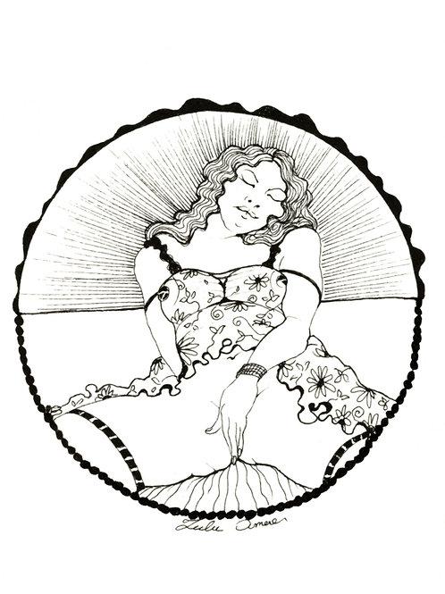 Lulu Amere. Caresse (2012). Encre de Chine originale érotique.