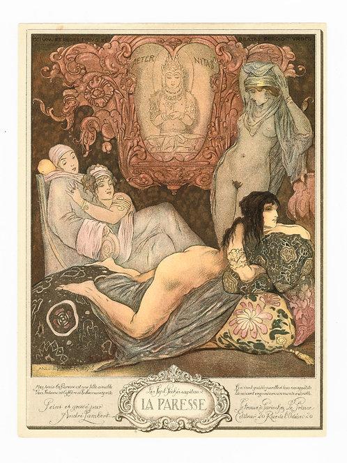 André Lambert. La Paresse. 7 péchés capitaux (1918). Photogravure 22 x 16 cm.