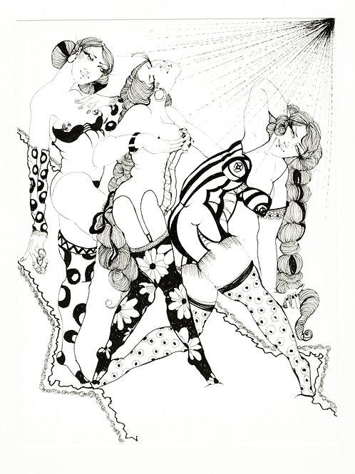 Lulu Amere. Le Défilé (2011). Encre de Chine originale érotique.