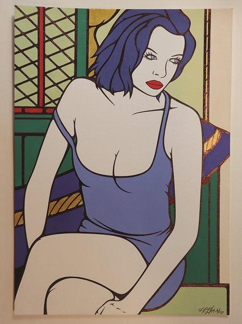 """Sophie Dumont. Dessin original sexy 29,5 x 21 cm acrylique et stylo """"GABY"""""""