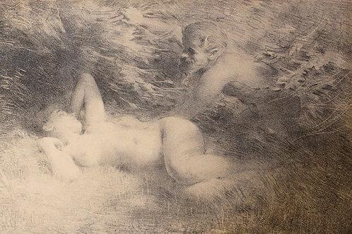 Lithographie originale par Lucien Hector Monod (vers 1890-1900) Nymphe et Satyre