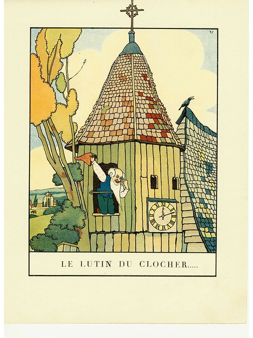1932 ALBERT URIET illustration ENFANTINA Contes d'ANDERSEN Lutin du Clocher