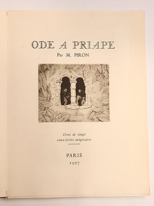 Alexis Piron. L'Ode à Priape. 20 eaux-fortes d'André Collot (1927). Superbe