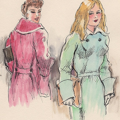 Dessin original par Fabien Fabiano (1950). Deux jeunes femmes