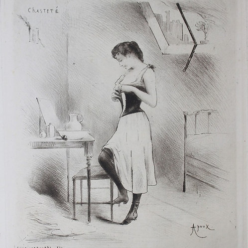 Joseph Apoux. Eau-forte originale. Chasteté. Vers 1880-1890. Papier vergé