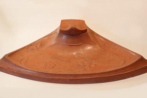 """Superbe encrier Art Nouveau 1900 en terre cuite """"saumon"""" vernissée. Rare"""