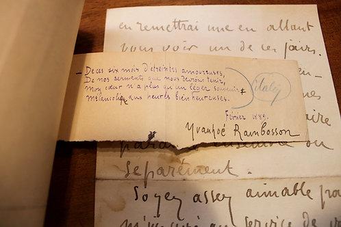 Ivanhoé Rambosson (1872-1943). Lettre autographe à La Plume. Poème
