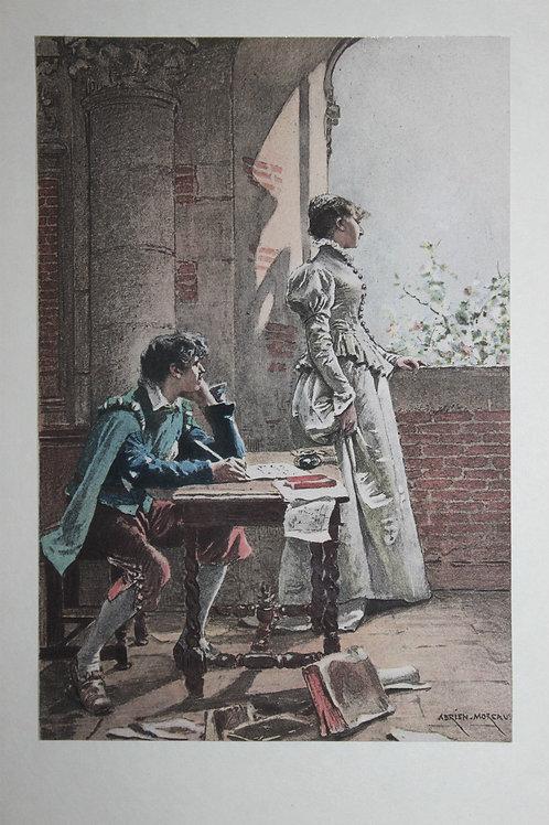 Estampe originale en couleurs d'après Adrien Moreau. La Mie du Poète (1884)