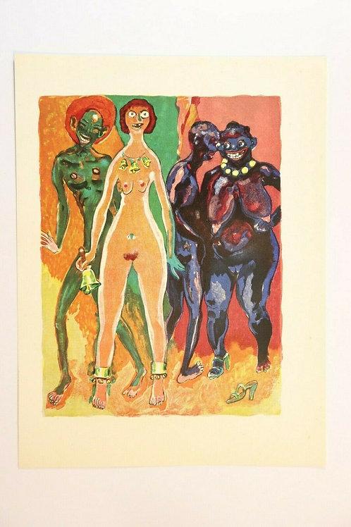 Kees Van Dongen Estampe couleurs 1955 aquarelle Mille et une nuits Oriental N°78