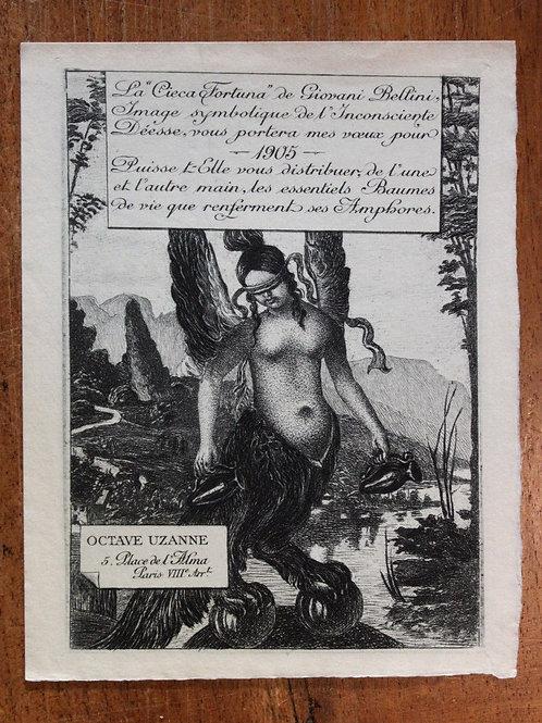 Carte de voeux pour Octave Uzanne (1905). Gravure par Félix Vallotton