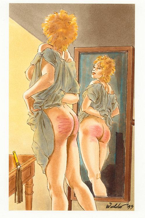 Waldo. 1993. Dessin original érotique (fesses rougies dans le miroir). BDSM