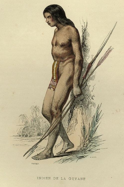 1842 INDIEN DE LA GUYANE AMERICA Les Français estampe gravure aquarellée époque