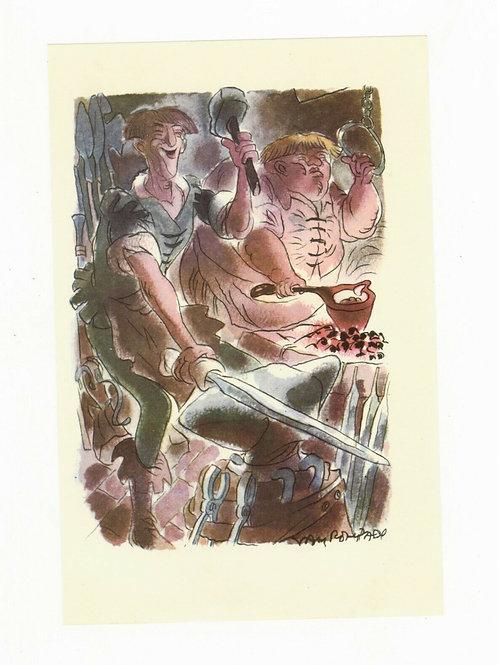 Van Rompaey Illustration couleur offset 1955 Forgeron Forge humour