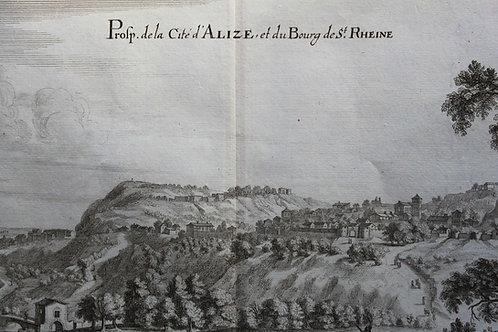 gravure ancienne Topographia Gallia Alise-Sainte-Reine & Flavigny Merian