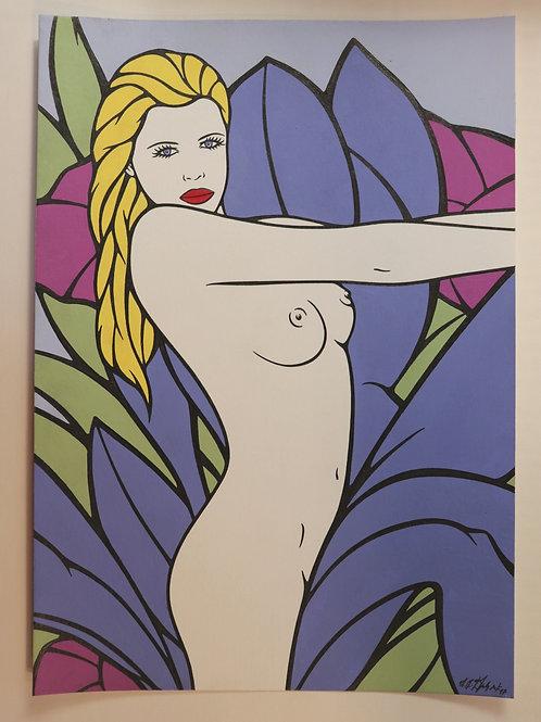 """Sophie Dumont. Dessin original sexy 29,5 x 21 cm acrylique et stylo """"ANABELLA"""""""