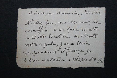 Carte autographe de Jean Lorrain au sujet d'un costume de Dante ...