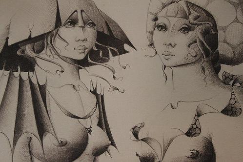 Christian Le Moult. (Les Deux Muses). Dessin original érotique. Onirisme