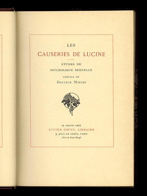 Docteur Lutaud. Les Causeries de Lucine (1907). 1/25 ex. Japon. Reliure signée.