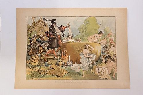 1886 Robida Gravure couleurs chromotypogravure gillotage Rabelais 29 Pantagruel