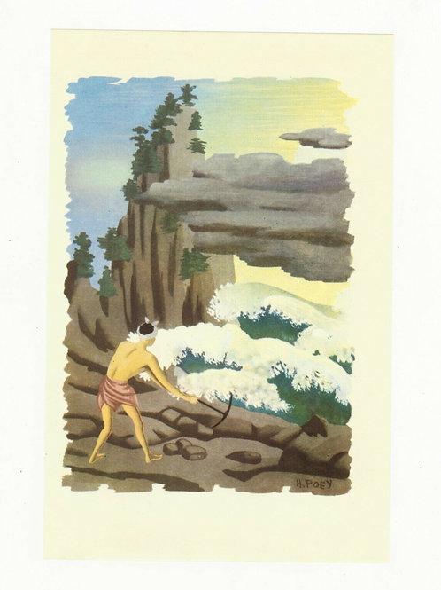 H. Poey Illustration couleur offset 1955 Homme pioche nature Asie