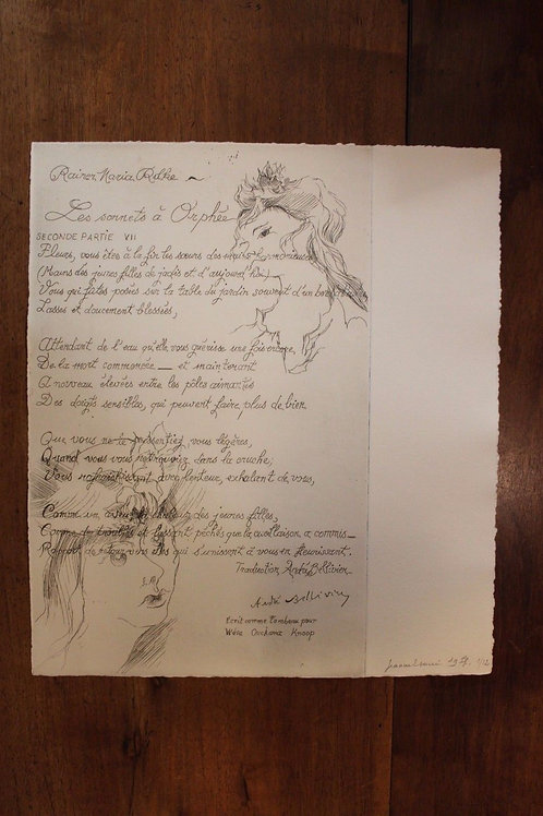 1975 Jeanne Esmein Estampe originale  n°1/12  Les Sonnets à Orphée