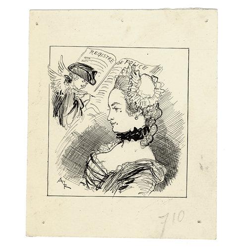 """Albert Robida. Dessin original pour """"Les Maisons Closes au XVIIIe siècle"""" (1903)"""