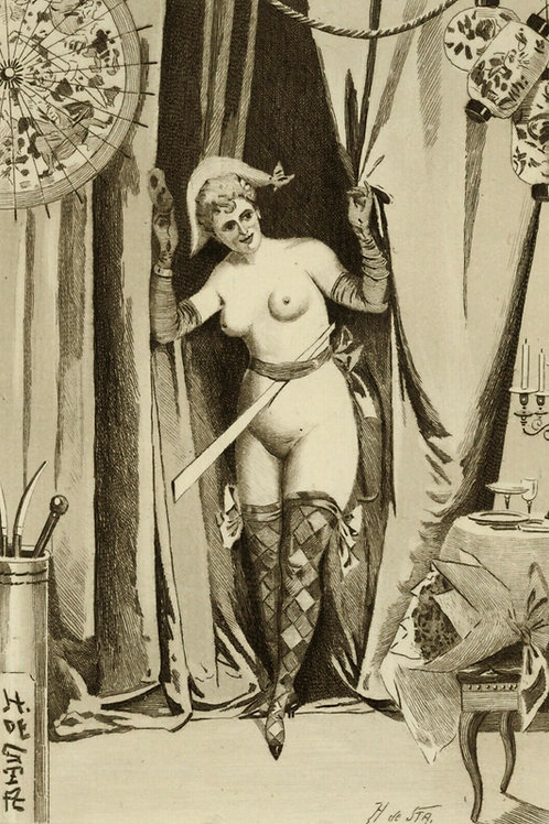 H. de Sta Estampe originale vers 1880 1890 Femme de théâtre curiosa