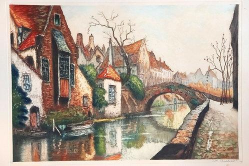 1930 Estampe originale signée Ch. Chatant Aquatinte gravure couleurs Bruges